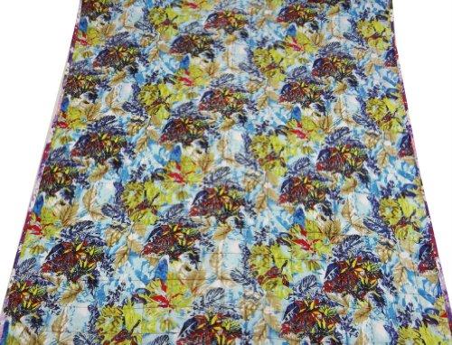 Algodón azul bebé Edredón Decorativo Floral Cuna Patrón Tamaño Colcha reversible tirar India 52 X 42 Pulgadas Regalo