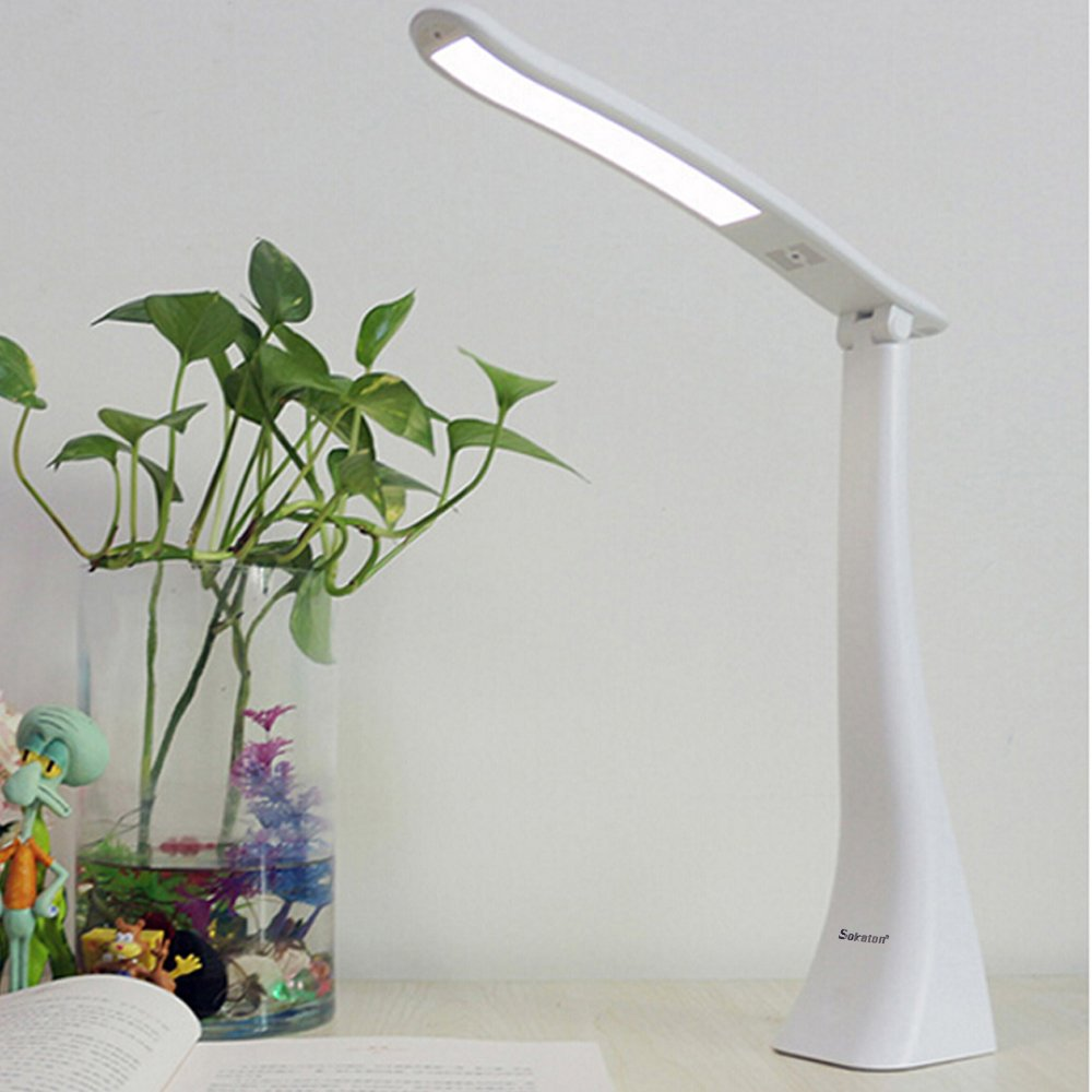 LED Eye Care Lamp,Sokaton® LED Desk Lamp, Touch Control Brightness, Eco-friendly ABS Heat Sink, 180 Degree Rotation. (White)
