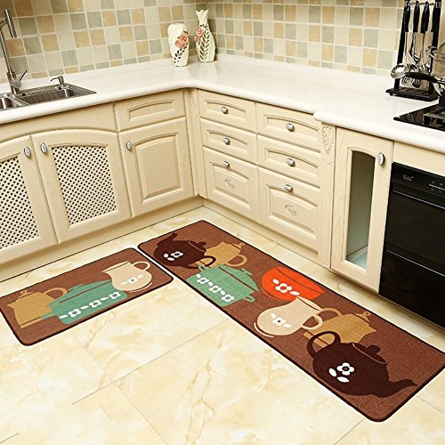 Seamersey Home and Kitchen Rugs 2 Pieces 4 Size Decorative Non-Slip Rubber Backing Doormat Runner Area Mats Sets (Teapot Mat compare prices)