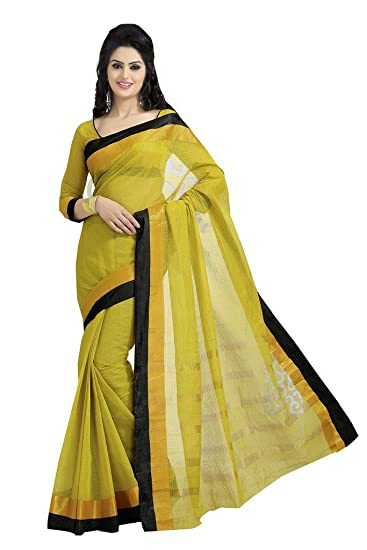 Ishin Cotton Yellow Solid Saree available at Amazon for Rs.3249