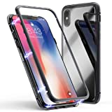 Case for Huawei P20 lite Magnetic Slim PC Hard Case Metal Frame Tempered Glass Magnet Flip Anti-Scratch Protective Cover (Black, Huawei P20 lite 5.8