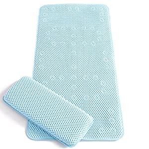 clevamama full length bath mat with kneeling cushion blue baby. Black Bedroom Furniture Sets. Home Design Ideas