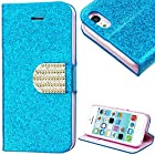 myLife Sky Blue and Pink {Sparkly Glitter and Bling Buckle Design} Faux Leather (Card, Cash and ID Holder + Magnetic Closing) Slim Wallet for the iPhone 5C Smartphone by Apple (External Textured Synthetic Leather with Magnetic Clip + Internal Secure Snap In Hard Rubberized Bumper Holder)