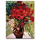 Trademark Fine Art Daisies and Poppies by Vincent van Gogh Canvas Wall Art, 24x32-Inch