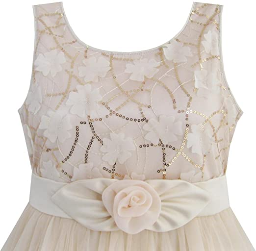 Sunny-Fashion-Little-Girls-Dress-Shinning-Sequins-Beige-Tulle-Layers