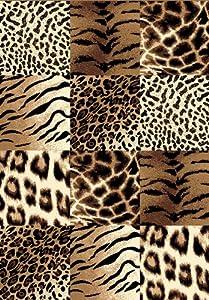Creative Home Safari Area Rug 42026-77 Brown Checkered Cheetah Tiger Giraffe Leopard Animal Print at Sears.com