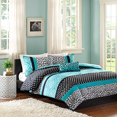 Comforter Bed Set Teen Bedding Modern Teal Black Animal Print Girls Bedspead Update Home (Twin/Twin Xl)