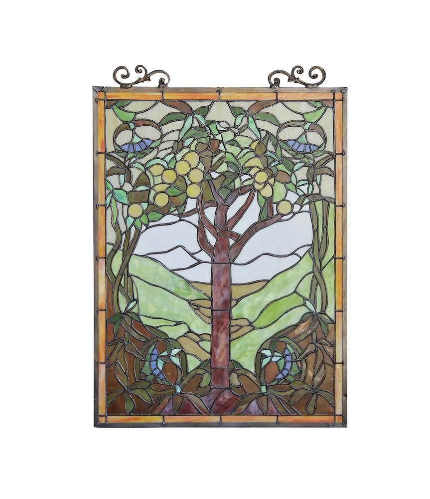 OLEA Fruits of life Tiffany-style Glass Window Panel 18x25 1