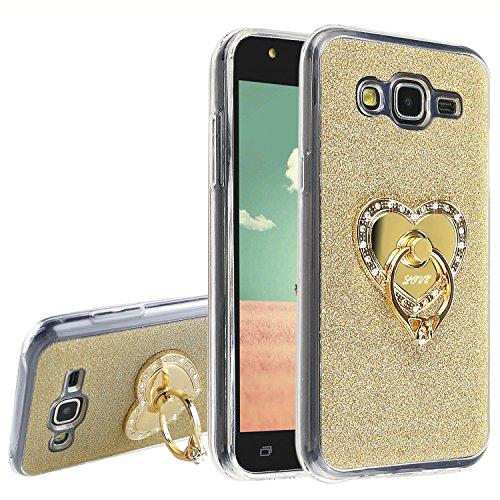 Asnlove Silikon Case Schutzhülle für Samsung Galaxy J5 Glitzer Hülle mit Gold Herz Strass Ringe Ständer 360 Rotation TPU Cover Rückschale Handyhülle(Gold)