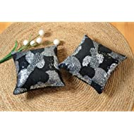 Shahenaz Home Shop Luxe Glamour Poly Dupion Cushion Cover - Black