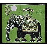 Batik Wall Hanging - Elephant (Hand made Batik Art) Green Backgroundby Nethara