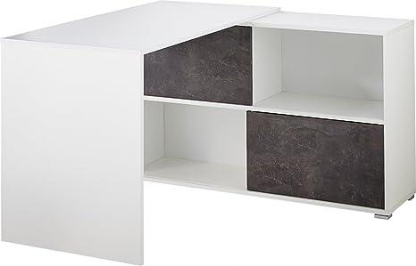 Dreams4Home Schreibtisch 'Stockholm' - Burotisch, Tisch, Computertisch, Arbeitstisch, Kommode, Sideboard, Aufbewahrung, Buro, B/H/T: 120 x 75 x 120, Weiß, Basalto-Dunkel, Schiebetur, made in Germany