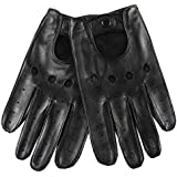 WARMEN Classic Men's Leather Driving Unlined Backless 4 Holes Gloves