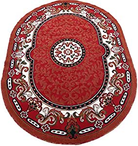 Amazon Com Persian Medallion Oval Woven 6x8 Area Rug Red