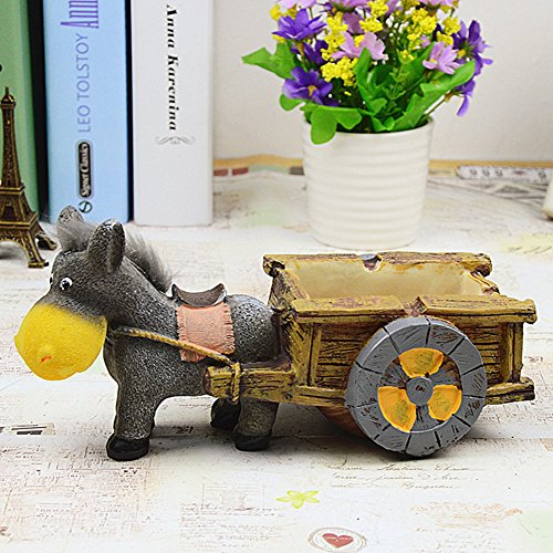 Hynbase Creative Home Decorations Ornaments Donkey Carts Style Resin Ashtray