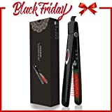Flat Iron with Infrared Ionic Technology Hair Straightener 1 inch Titanium Ion Ceramic Tourmaline Plates LCD Display Dual Voltage Suitable for All Hair Types Makes Hair Shiny & Silky Heats Up Fast (Color: Black B)
