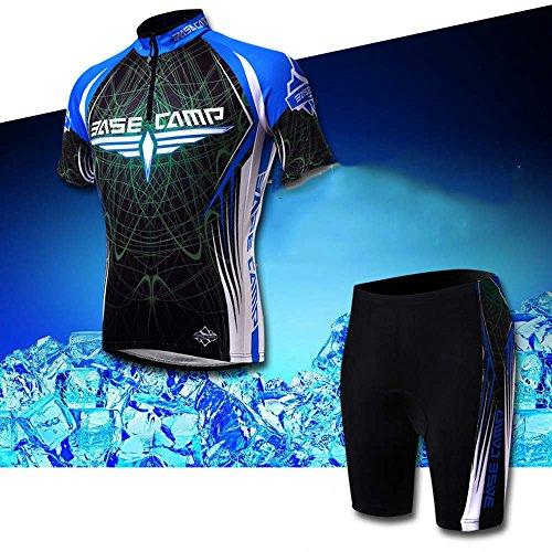 BaseCamp Abbigliamento ciclismo,Abbigliamento sportivo per bicicletta,maglia da bicicletta + Pantaloncini corti Imbottito in Gel per Ciclismo,con Coolmax
