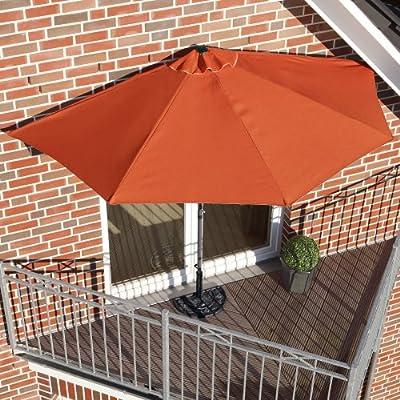Sonnenschirm halbrund rechteckig für Balkone oder Terrassen Polyester/Metall, ca. 270 cm breit von PureDay auf Gartenmöbel von Du und Dein Garten