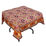 "Handmade Indian 54"" Square Tablecloth - Maroon, Red And Yellow Floral Cotton"