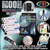 The Moon Universal Kit for OLYMPUS TG-320, STYLUS-5010, STYLUS-7030 STYLUS-7040, STYLUS-7010, STYLUS-7000, STYLUS-550WP. Includes: 2 Li-40B/42B 1000mAh Ultra High Capacity Batteries made with cells produced in JAPAN or USA, Table-Top Wire Tripod, 110/240 