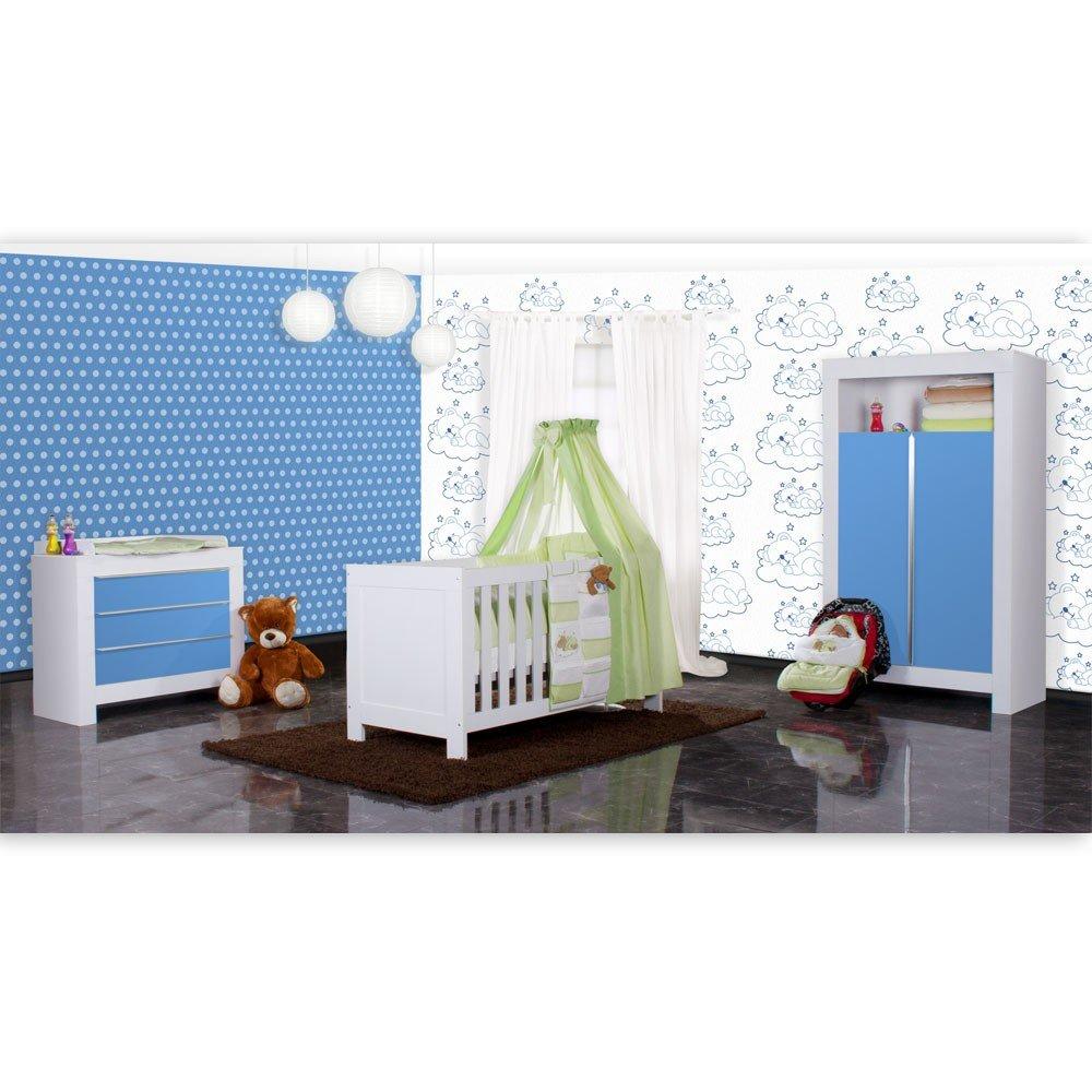 Babyzimmer Felix in weiss/blau 19 tlg. mit 2 türigem Kl + Sleeping Bear in grün