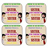 MeSleep Brother Sister Wooden Coaster-Set Of 4