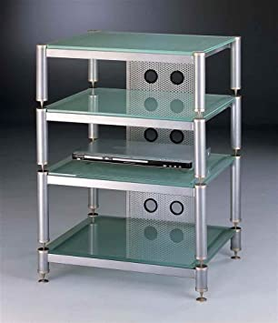 4-Shelf Audio Rack/Amp Stand in Silver with Frosted Glass Shelves