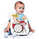 Just Add A Kid 184 Drummer Baby Oversize Bib 0-18 Months White (Color: White, Tamaño: 0-6 Months)