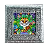 MJR Digital Print Carved White Metal Decorative Dry Fruits Box- The Incredible India - Tiger - 5 x 5 inches.