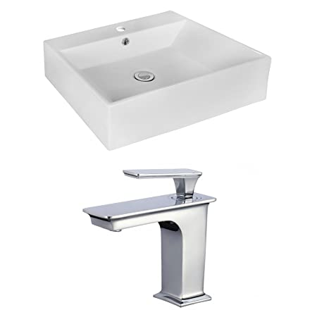 "Jade Bath JB-17986 20.08"" W x 16.54"" D Rectangle Vessel Set with Single Hole CUPC Faucet, White"