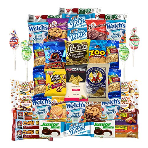 Chips Cookies Crackers & Candies Variety Pack Includes Popcorners, Grandmas Cookies, Planters Peanuts, Keeblers Fudge Stripes, Pirates Booty, Rice Krispies & More, Bulk Sampler Care Package (40 Count) (Home Care Package compare prices)
