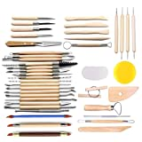 LINGSFIRE Pottery Tools, 44PCS Clay Sculpting Tools Wooden Handle Pottery Carving Tool Set Clay Cleaning Tools Kits Rock Painting Kit for Sculpture Pottery Art Crafts, Safe for Kids (44Pcs) (Color: 44Pcs)