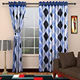 Ajay Furnishings 2 Piece Polyester Modern Door Curtain - 7 ft, Blue