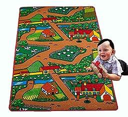 Kids Rug FARM 2 Area Rug Area Rug 5\' x 7\' Children Area Rug for Playroom & Nursery - Non Skid Gel Backing (59\