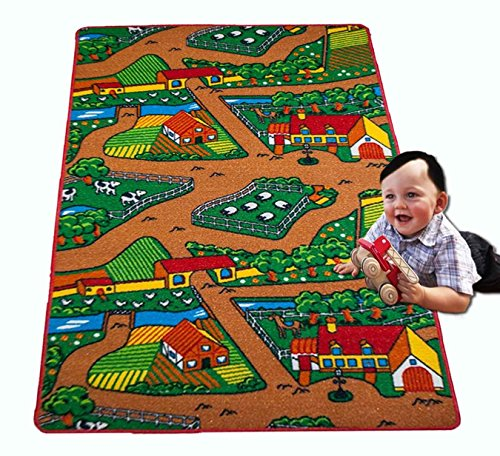 "Kids Rug Home Country Farm Life Mat Animals and Tractor Fun Play Kid's Area Rug 39"" x 58"" - 1"
