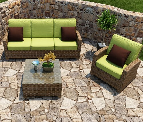 Forever Patio Cypress 3 Piece Modern Patio Sofa Set with Lime Green Sunbrella Cushions (SKU FP-CYP-3SS-HR-SK)