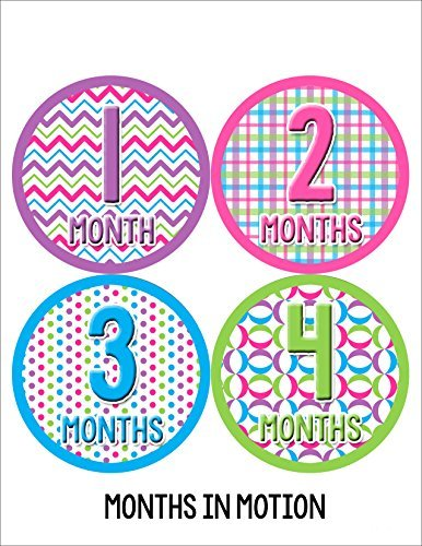 Months in Motion 045 Monthly Baby Stickers Baby Girl Months 1-12 Milestone Age