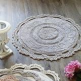 Badteppich Badematte Badvorleger Rund Landhaus Shabby Chic - Crochet -