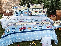 LELVA Cartoon Train Bedding Set, Children\'s Duvet Cover Set, Kids Bedding Boys, Baby Bedding Set, Twin Full Queen Size (Fitted Sheet, Twin)