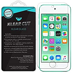 Klear Cut KlearGlass - 9H Hardness Tempered Glass Screen Protector for Apple iPod Touch (6th Gen) with Lifetime Replacements / 99.9% HD Clear / Shatterproof and Anti-Bubble Ballistic Glass