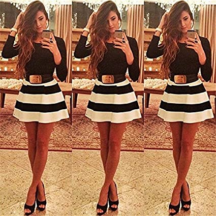 Moxeay® Long Sleeve Black White Stripes Swing Skater Dress Party Prom Bodycon Dress (M)