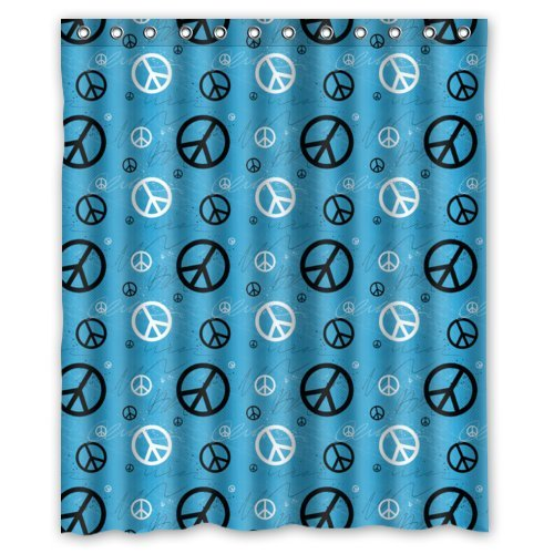 Genial Blue Background World Peace Sign Pattern Design Mildew Proof Polyester  Fabric Shower Curtain With Rings 60