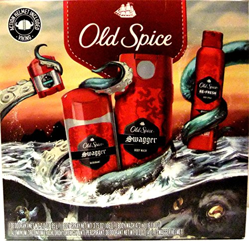 Old Spice NEW 2016 SWAGGER 4 Piece Gift Set + FREE travel size Old Spice Shampoo-Conditioner: 2-DEODORANT, BODY SPRAY, BODY WASH.