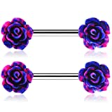 Jewseen 14g Rose Flower Nipple Ring Bar 1.6mm Piercing Barbell for Nipple 2018 (Color: Steel)