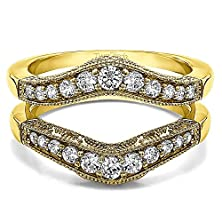 buy 0.75 Ct. Diamonds Vintage Style Filigree And Milgraining Contour Ring Guard In 10K Yellow Gold (3/4 Ct. Twt.)
