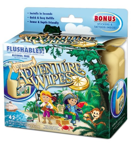 Lil' Booty'S Adventure Wipe Hanging Flushable Wipe Dispenser and 42 Count Wipes