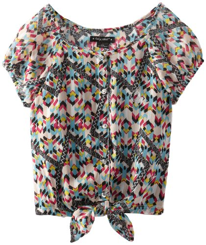 Baby Phat - Kids Big Girls' Printed Tie Front Top, Hot Pink, Large front-572100