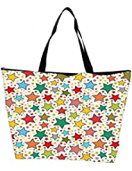 Snoogg Abstract Colorful Stars Designer Waterproof Bag Made Of High Strength Nylon