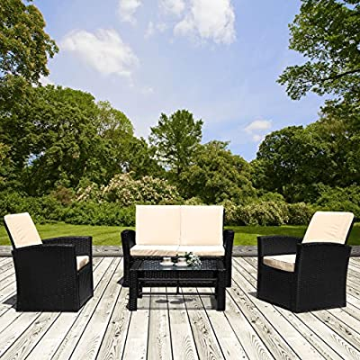 Jarder Luxury Rattan Outdoor Garden Furniture Patio Sofa Set - Twin Single Seats, Double Seat & Table