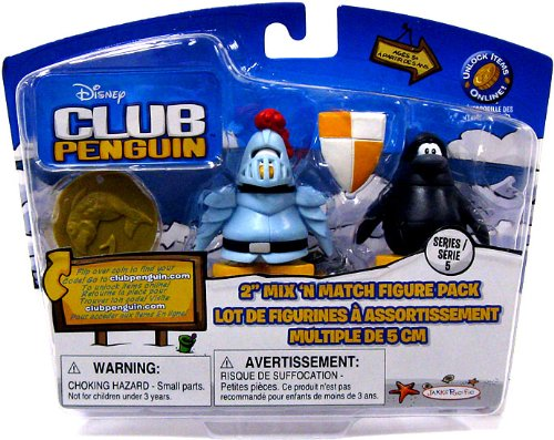 Buy Low Price Jakks Pacific Disney Club Penguin Series 5 Mix 'N Match Mini Figure Pack Knight & Ninja [Includes Coin with Code!] (B002WQLH70)